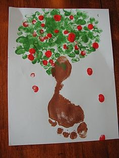 art project, foot print, fingers, appl tree, trees, footprint, apples, print appl, prints