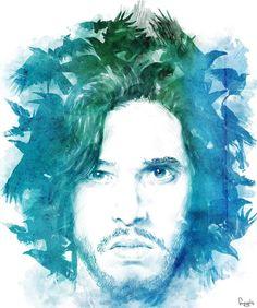 Jon Snow fan art, games, films, jon snow, crows, design, illustr, game of thrones, sword
