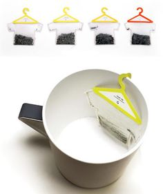 Hangers Tea Bags: Creative creation of Soon Mo Kang, these tea bags are shaped like T-shirts with hangers.