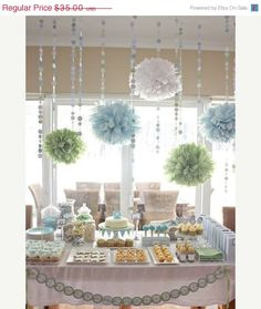 choose your colors...  10 Tissue paper poms // weddings // birthdays // classroom // bat mitzvah // graduation // party decorations via Etsy