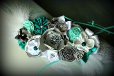 Teal Grey and White MATERNITY sash Belly by thelaughingprincess, $40.00