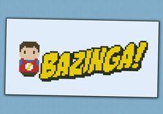 Bazinga - The Big Bang Theory chibi - PDF  cross stitch pattern