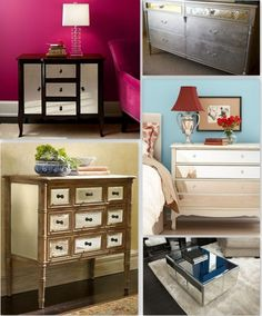 diy mirrored furniture collage