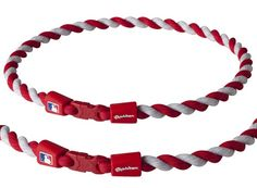 MLB Phiten Tornado Baseball Necklace (Red and White)