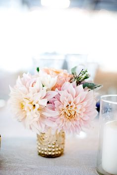 Light pink floral arrangements for reception