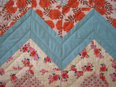 Hand-quilted chevron quilt