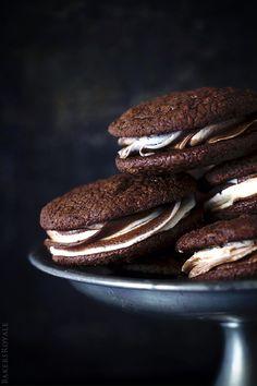 Black and White Brownie Sandwich Cookies