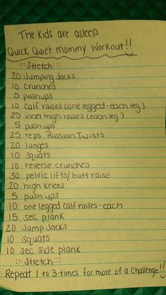 The Kids are asleep  Quick Quiet Mommy Workout!!  (I combined a couple workouts I found on here and made them work for me)