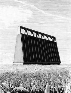 Denis draws meticulously hatched fictional buildings, often with a pleasingly modernist bent. via presentandcorrect
