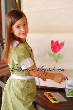 Kids art smock from men's shirt