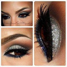 Silver eyeshadow holiday parties, nail, eye makeup, silver, glitter makeup, beauti, new years eve, hair, eyeshadow looks