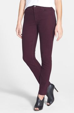 Jen7 burgundy skinny jeans - You need to try these. Great fit for those of us who um, can't wear the low riders anymore.