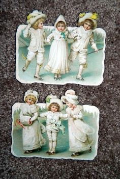 Antique Die Cut Children Christmas Snow Babies Mica German Frances Brundage