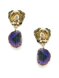 "Leslie Danzis gold-and-crystal flower drop earrings in purple. 1.5"" long, .75"" at widest point, post-back closure. Antique gold-plated base metal and crystal flower earrings w/ purple glass drop details. #GiftMe"