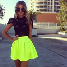 neon skirt with black. skirt, fashion, lace tops, neon green, outfit, neon colors, bright colors, shirt, neon yellow