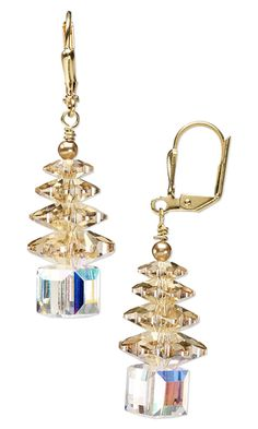 Christmas Tree Earrings with SWAROVSKI ELEMENTS by Tim Cronkhite.  I like these colors...