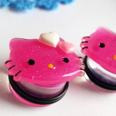 7/8 inch 22mm Pink KItty Acrylic Plugs gauge by glamasaurus