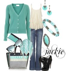Jeans with teal, turquoise and black, created by jackijons