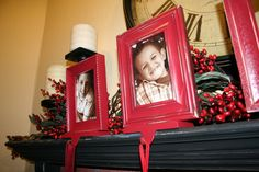 D.I.Y. Picture Frame Stocking Holders: Take a picture of each family member in Santa hats and frame them to create stocking holders. The entire family will be able to spot their stocking on Christmas morning without any problems.