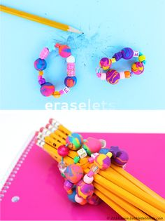 "Back to School Craft: Eraser Bead Bracelets AKA ""ERASELETS"" | Make beads from eraser clay then string them into sweet back to school bracelets! from BABBLE DABBLE DO #jewelryforkids #bracelets #backtoschoolcrafts"