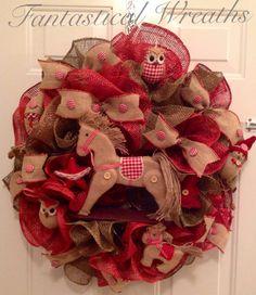 Christmas Rocking Horse Wreath on Etsy, $65.00