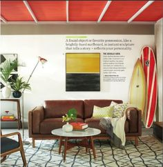 red ceiling with beams | West Elm Catalog June 2014  http://www.westelm.com/pages/we-catalog/2014-06.html