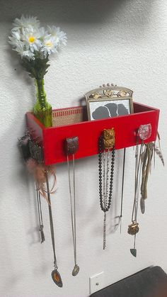 Wood red jewelry necklace earring makeup vase wall organizer with owl door knobs via Etsy