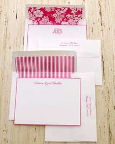 personalized hot pink note cards with lovely envelopes.