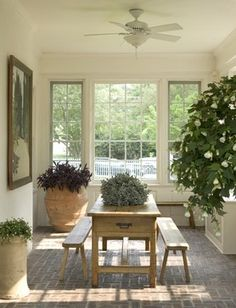 Sun room traditional porch with brick floor - Nice natural sunlight - Indoor plants
