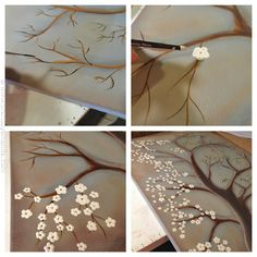 Pintura Branco Cherry Blossom Tree (passos) - CraftsbyAmanda.com