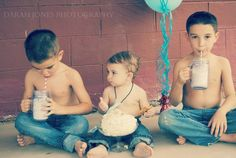 1st bday pics  Vintage sock monkey, milk and cookies Siblings