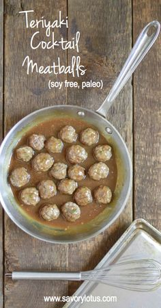 Teriyaki Cocktail Meatballs (grain and soy free) -  savorylotus.com #meatballs #grainfree #glutenfree #soyfree #paleo #recipes #appetizers #partyfood