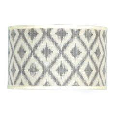 16 inch Ikat Batik Drum Shade Blue or Gray