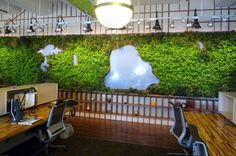 LTL Architects Create Living Wall of Central Park for OpenPlans' Offices | Inhabitat New York City #urbangardens interior design, living walls, green walls, live wall, offices, interior garden, the office, office walls, central park