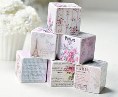 wooden decorative blocks Shabby French