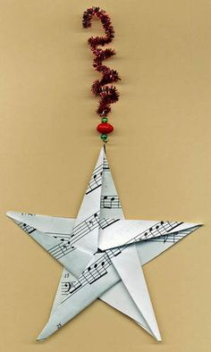 sheet music origami star