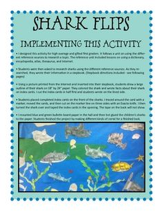 super cute FREE shark report ideas. could be used with other animals