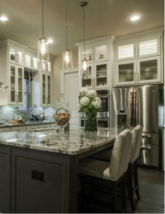 Cook #Thanksgiving #dinner #recipes in your dream #gourmet #kitchen with grey #granite #countertops and beautiful #white #cabinetry.
