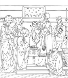 Feast of the Presentation of Our Lord Catholic Coloring Page.  Feast day is February 2nd.  Lovely.