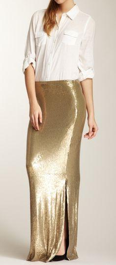 Gold Sequin Skirt / nicole miller #DressUpPartyDown