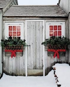 Brr, but beautiful outdoor planters for the holidays!