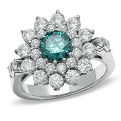 2-1/2 CT. T.W. Enhanced Fancy Blue and White Diamond Fashion Ring in 14K White Gold - Zales