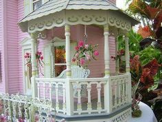robin, porch swings, romantic homes, soft pink, pink houses, cottage style, doll houses, little cottages, dollhouse miniatures