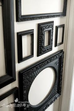 ornate victorian black picture frames on white wall painted frames, wall decor, wall frames, empty frames, gallery walls, picture frames, black, bedroom, frame gallery