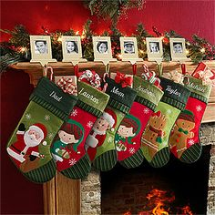 Personalized Christmas Stockings for each family member look beautiful hanging from the mantle! #Christmas #Stocking