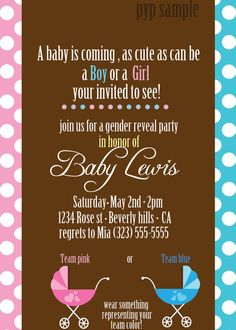 Gender Reveal Party - cute idea!