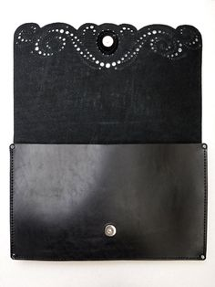 Leather clutch bag Handmade black lace clutch for by erikasleather