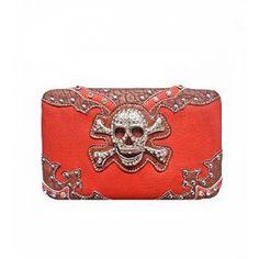 Orange Skull and Cross Bones Wallet Item No.  hbmoscbw  In Stock:  $23.00