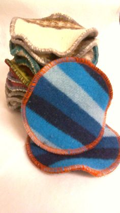 Recycled Blue Stripe Wool Nursing Pads  1pair by LagamorphLounge, $5.50