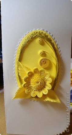 Yellow Quilling in an Oval Frame